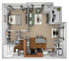 A1 3D floor plan 1-bedroom First and Main Apartments - 3D Floor Plans