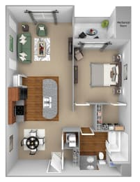 A2 3D floor plan 1-bedroom First and Main Apartments - 3D Floor Plans