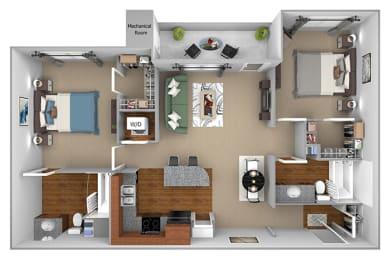 B1 3D floor plan 2-bedroom First and Main Apartments - 3D Floor Plan