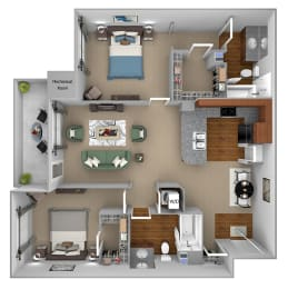 First and Main - B2 (Impulse) - 2-bed and 2-bath - 3D Floor Plan