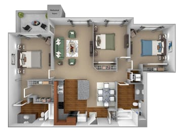 First and Main - C1 (Contemporary) - 3-bedroom and 2 bath - 3D floor plan