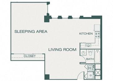 The Kirby - A12 - The Harwood - 1 bedroom - 1 bath