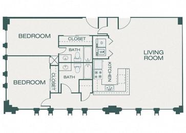 The Kirby - B2 - Magnolia - 2 bedroom - 2 bathroom