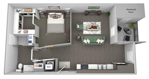 The Haven at Shoal Creek - A - Energize - 1 bedroom - 1 bath - 3D