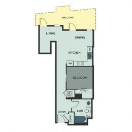 A03 – 1 Bedroom 1 Bath Floor Plan Layout – 592 Square Feet