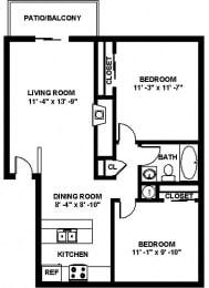 B1 2 bedroom 2 bathroom Floor plan at Copper Ridge Apartments, Washington, 98055