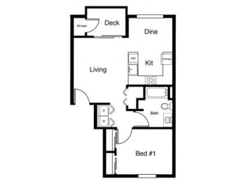 1x1 Floor plans available at Elk Creek Apartments in Sequim, WA 98382