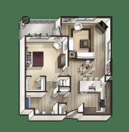 E - 1 Bedroom 1 Bath Floor Plan Layout - 825 Square Feet