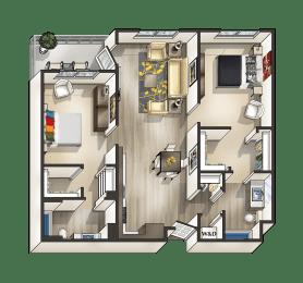 H - 2 Bedroom 2 Bath Floor Plan Layout - 1045 Square Feet