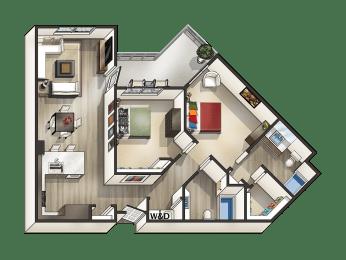 J - 2 Bedroom 2 Bath Floor Plan Layout - 1080 Square Feet