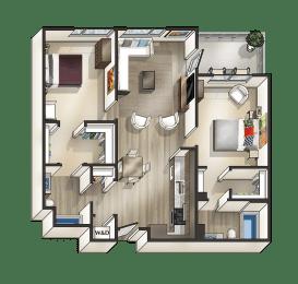 G - 2 Bedroom 2 Bath Floor Plan Layout - 1030 Square Feet