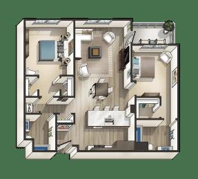 K - 2 Bedroom 2 Bath Floor Plan Layout - 1095 Square Feet