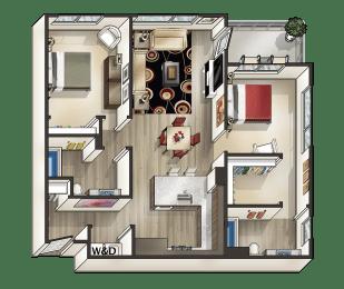 I - 2 Bedroom 2 Bath Floor Plan Layout - 1050 Square Feet