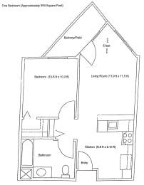 1x1 Floor Plan at Vintage at Bennett Valley Senior Apartments  l Santa Rosa, Ca