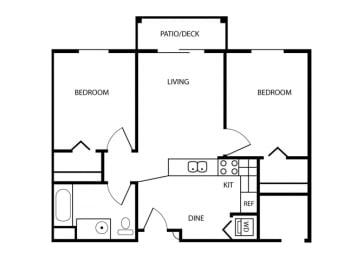 Two Bedroom floor plan. Tacoma, Wa Senior Apartments 98409 l Vintage at Tacoma