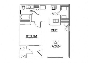 One Bedroom Floor Plan  Laughlin, NV 89029 l Vista Creek Apartments for rent