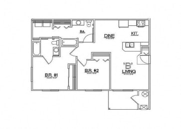 Two Bedroom Floor Plan  Laughlin, NV 89029 l Vista Creek Apartments for rent