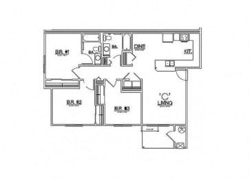 3 Bedroom Floor Plan  Laughlin, NV 89029 l Vista Creek Apartments for rent