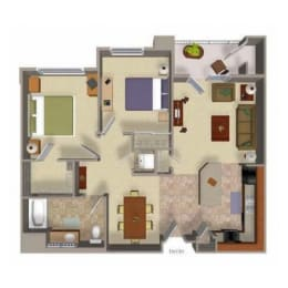 Two Bedroom One Bathroom Floor Plan at Beaumont Apartments WA, 98072