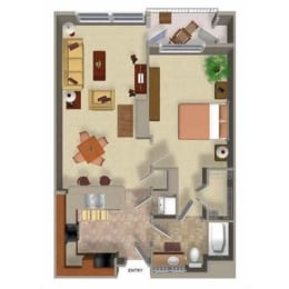 1 Bedroom 1 Bathroom Floor Plan Two, at Beaumont Apartments, Washington, 98072