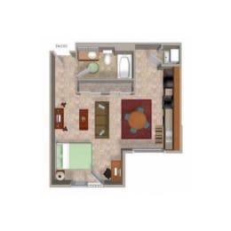 Studio 2 Floor Plan, at Beaumont Apartments, Woodinville, WA 98072