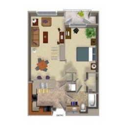 1 Bedroom 1 Bathroom Floor Plan Three, 98072, Woodinville, at Beaumont Apartments