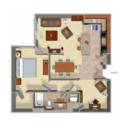 1 Bedroom 1 Bathroom Floor Plan Four, at Beaumont Apartments, 14001 NE 183rd Street