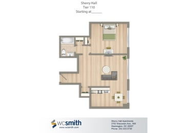 561-Square-Foot-One-Bedroom-Apartment-Floorplan-Available-For-Rent-Sherry-Hall-Apartments