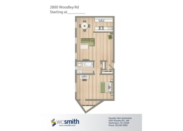 676-Square-Foot-One-Bedroom-Apartment-Floorplan-Available-For-Rent-2800-Woodley-Road