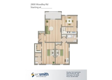 1085-Square-Foot-Two-Bedroom-Apartment-Floorplan-Available-For-Rent-2800-Woodley-Road