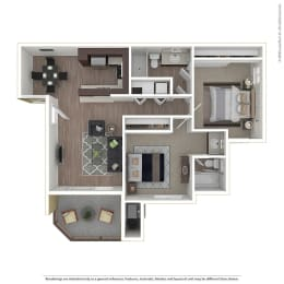 2BR/2BA 2 Bed 2 Bath Floor Plan at 1750 On First, Simi Valley, California