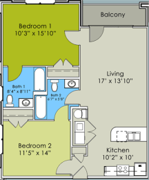 Two Bed Two Bath Floor Plan at Greenway at Stadium Park, Greensboro, NC