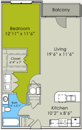 One Bed One bath Floor Plan at Greenway at Stadium Park, North Carolina