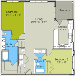Two Bedroom Two Bathroom Floor Plan at Greenway at Stadium Park, Greensboro