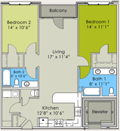 Two Bedroom Two Bathroom Floor Plan at Greenway at Stadium Park, Greensboro, 27401