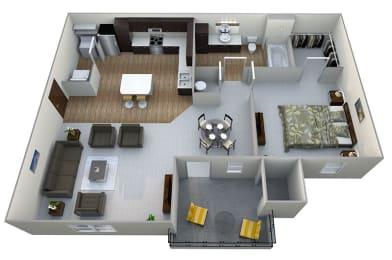 A1  3D Floor Plan at Aventura at Maryland Oaks, Missouri