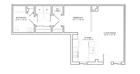Floorplan of Studio Apartment, The Acorn