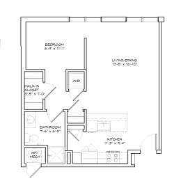 Floorplan of Studio Apartment, The Birch