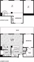 Floor plan at Trio Apartments, California