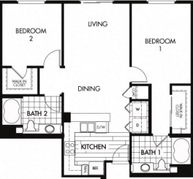 Floor plan at Trio Apartments, California, 91101