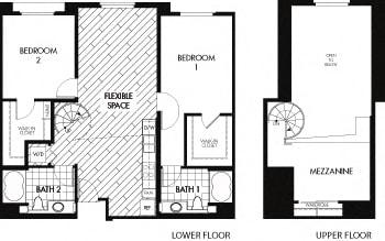 Floor plan at Trio Apartments, Pasadena, California