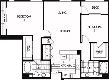 Floor plan at Trio Apartments, Pasadena