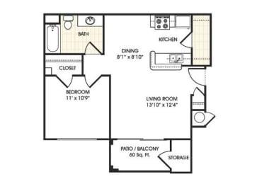Stonebridge Ranch Apartment Homes for Rent in Chandler AZ  1 bedroom apartment floor plan