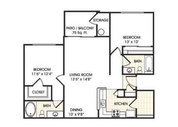 Stonebridge Ranch Apartment Homes for Rent in Chandler AZ  2 bedroom apartment floor plan
