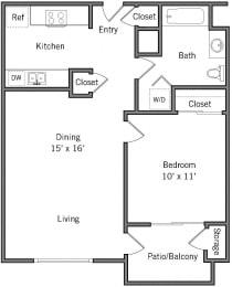 1B - 1 Bedroom 1 Bath Floor Plan Layout - 656 Square Feet