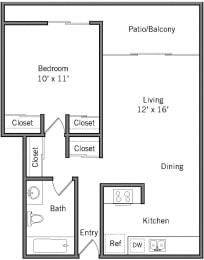 1A - 1 Bedroom 1 Bath Floor Plan Layout - 610 Square Feet