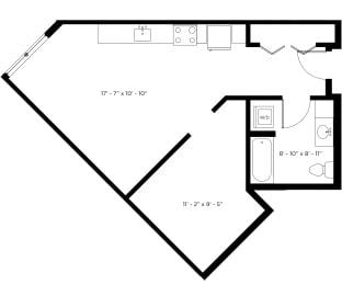 Atlas1bx1b - Plan 0D - 583 sqft