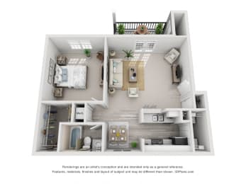 636 sq.ft. One Bed One Bath