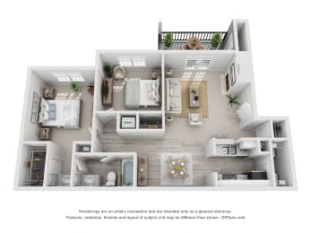 863 sq.ft. Two Bed One Bath