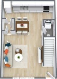 Floor Plan 1 Bedroom 1 Bath Townhome
